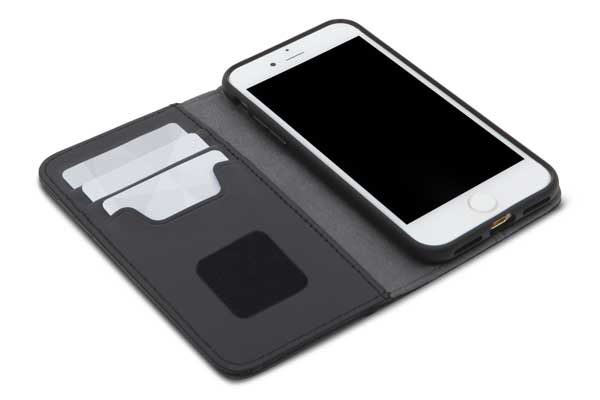 Moshi Overture - Elegantes Folio mit Kreditkartenfächer, Standfunktion und Reinigungskissen für iPhone 7, Onyx Black