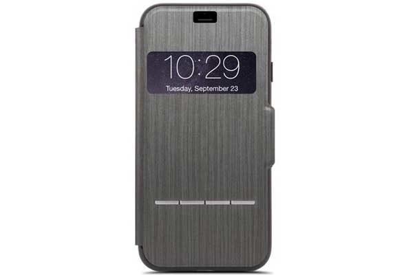 Moshi SenseCover - Edles berührungsempfindliches Folio mit Sichtfenster und Magnetverschluss für iPhone 7, Charcoal Black