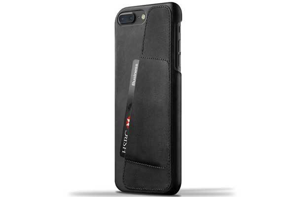 Mujjo Leder Wallet Case mit Kreditkartenfach für iPhone 7 Plus, schwarz