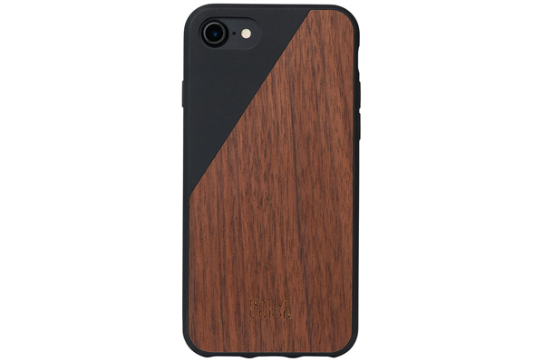Native Union Clic Wooden V2 Hardcase für iPhone 7, Walnut Wood/Soft Touch Black
