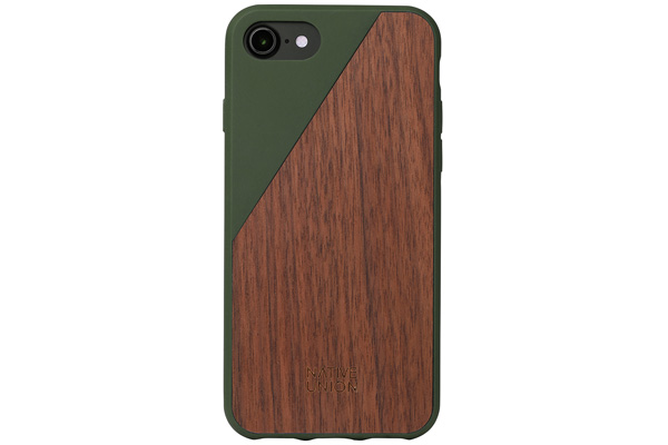 Native Union Clic Wooden V2 Hardcase für iPhone 7, Walnut Wood/Soft Touch Olive