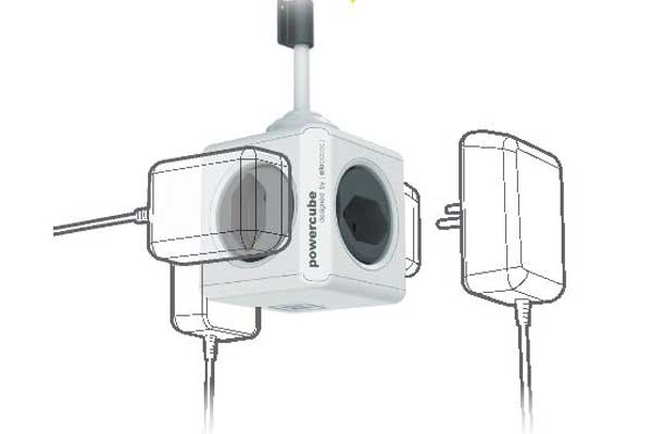 Allocacoc Steckdose PowerCube Extended USB, anthrazit