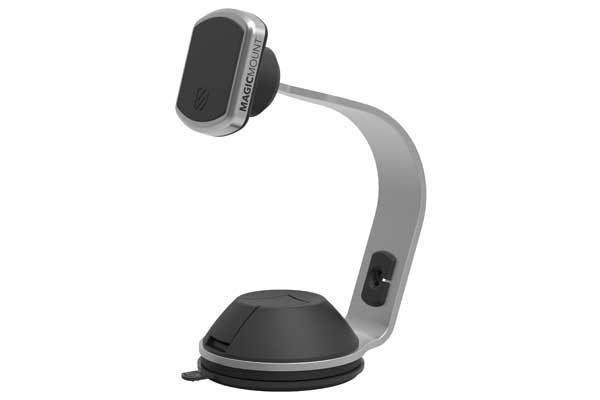 Scosche magicMOUNT Pro Home/Office - magnetische Tischhalterung für alle Smartphone für Zuhause oder Büro, mit optionaler Zusatzhalterung für Apple Watch, Alu-schwarz