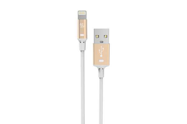 Scosche strikeLINE Lightning zu USB Kabel mit Sync- und Chargefunktion, 90cm, weiss-gold