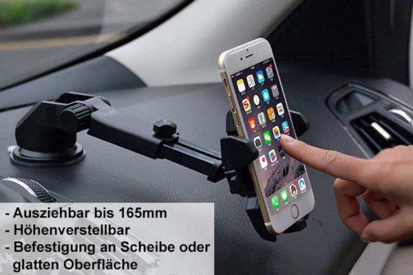 Bridge94 Smartphone-Halterung mit in der Länge verstellbarer Halterung für iPhone 3/4/5/6/7 und 7 Plus, schwarz