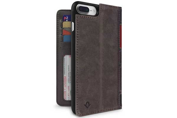Twelve South BookBook - Vintage Leather Case + Wallet für iPhone 7 Plus, braun