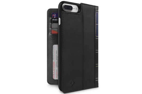 Twelve South BookBook - Vintage Leather Case + Wallet für iPhone 7 Plus, schwarz