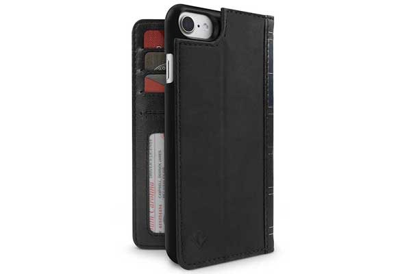 Twelve South BookBook - Vintage Leather Case + Wallet für iPhone 7, schwarz