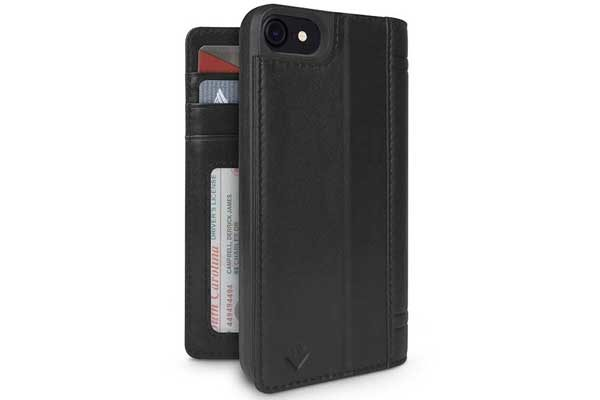 Twelve South Journal Case - Hochwertiges iPhone Hardcase aus echtem Leder für iPhone 6/6S/7, schwarz