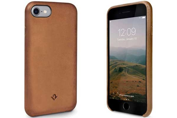 Twelve South Relaxed Leder Case - Hochwertiges Hardcase aus echtem Leder für iPhone 7, Cognac