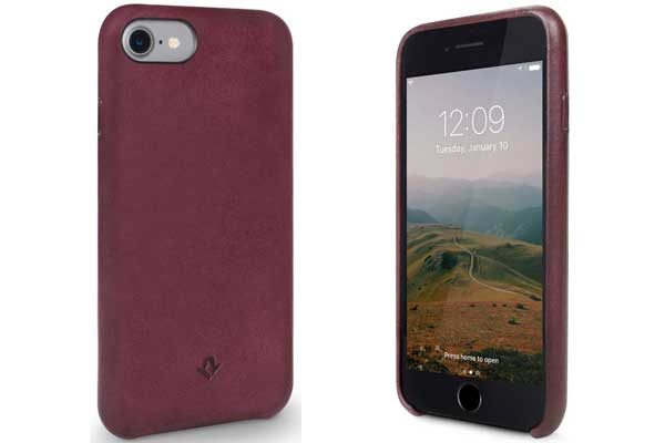 Twelve South Relaxed Leder Case - Hochwertiges Hardcase aus echtem Leder für iPhone 7, Marsala