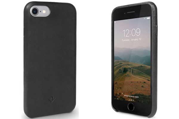 Twelve South Relaxed Leder Case - Hochwertiges Hardcase aus echtem Leder für iPhone 7, schwarz
