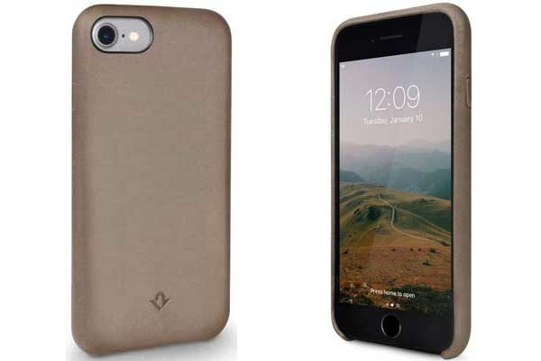 Twelve South Relaxed Leder Case - Hochwertiges Hardcase aus echtem Leder für iPhone 7, Warm Taupe
