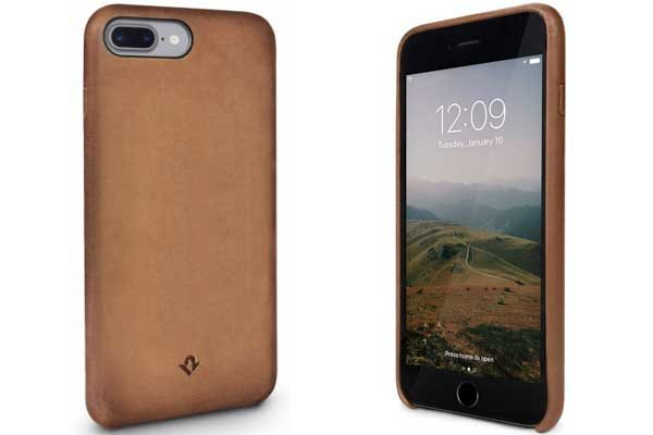 Twelve South Relaxed Leather Case - Hochwertiges Hardcase aus echtem Leder für iPhone 7 Plus, Cognac