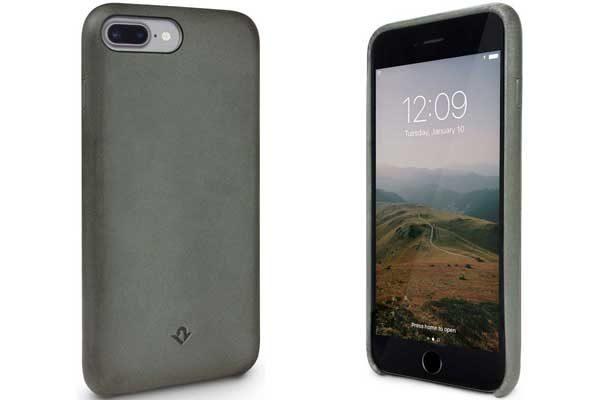 Twelve South Relaxed Leather Case - Hochwertiges Hardcase aus echtem Leder für iPhone 7 Plus, Dried Herb