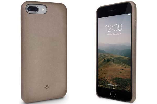 Twelve South Relaxed Leather Case - Hochwertiges Hardcase aus echtem Leder für iPhone 7 Plus, Warm Taupe