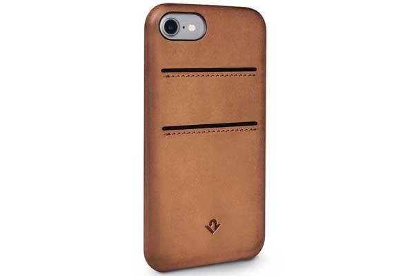 Twelve South Relaxed Leather Case - Hochwertiges Hardcase aus echtem Leder mit 2 Kreditkartenfächer für iPhone 7, Cocnag