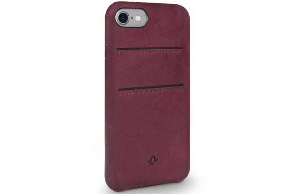 Twelve South Relaxed Leather Case - Hochwertiges Hardcase aus echtem Leder mit 2 Kreditkartenfächer für iPhone 7, Marsala