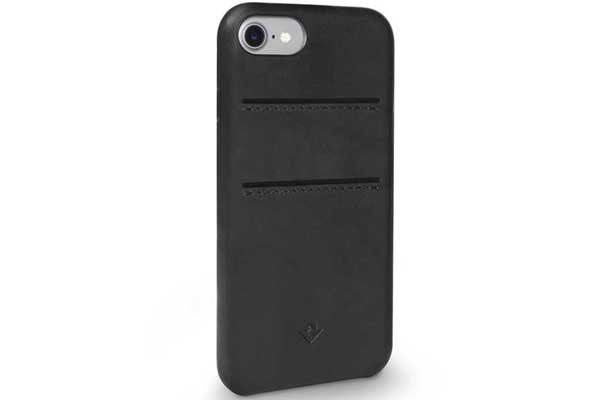 Twelve South Relaxed Leather Case - Hochwertiges Hardcase aus echtem Leder mit 2 Kreditkartenfächer für iPhone 7, schwarz
