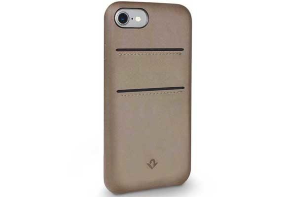Twelve South Relaxed Leather Case - Hochwertiges Hardcase aus echtem Leder mit 2 Kreditkartenfächer für iPhone 7, Warm Taupe