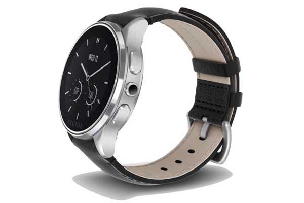 Vector Watch Luna 30 Tage Akku - Edle SmartWatch mit über 30 Tagen Akkulaufzeit und schwarzem Leder-Armband für iPhone & Android - Standard Fit, silber-schwarz