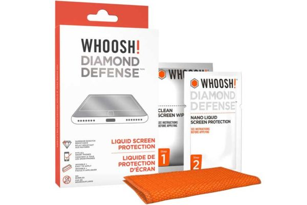 WHOOSH! Diamond Defense - Liquid Screen Protector für Smartphones & Tablet, 1 x Cleaning Wipe, 1 x Diamond Defense Wipe, 1 x Mikrofasertuch
