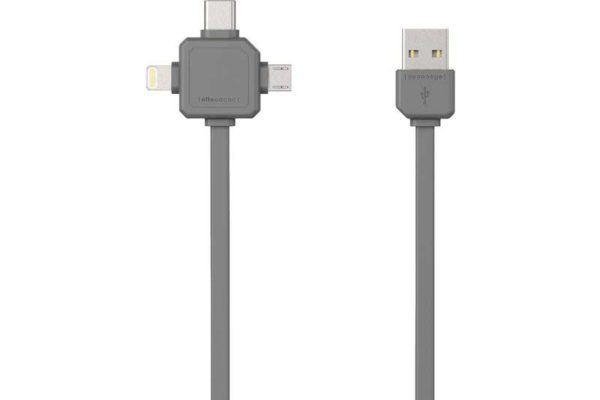 Allocacoc USB Cable für 3 Anwendungen (Mircro USB, USB-C, Apple Lighting), grau, 1.5m, 2.4A, PVC+TPE