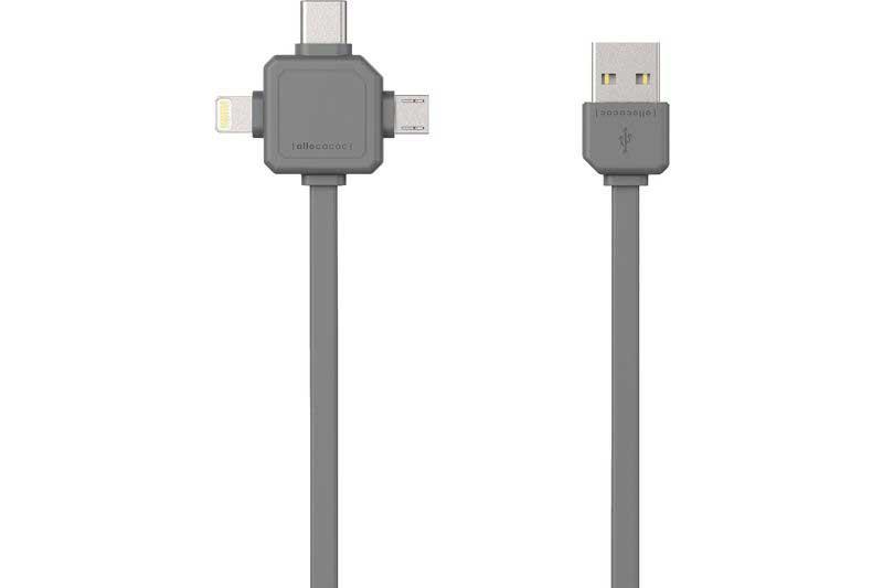 Allocacoc USB Cable für 3 Anwendungen (Mircro USB, USB-C, Apple Lighting), grau, 1.5m, 2.4A, PVC+TPE