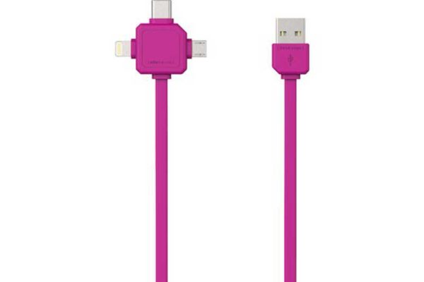 Allocacoc USB Cable für 3 Anwendungen (Mircro USB, USB-C, Apple Lighting), pink, 1.5m, 2.4A, PVC+TPE