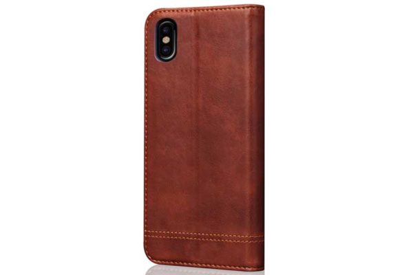 Bridge iPhone X Flip-Leder-Etui, braun