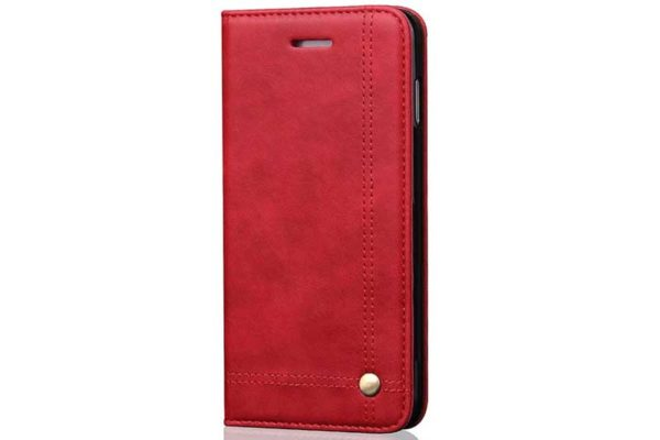 Bridge iPhone X Flip-Leder-Etui, rot
