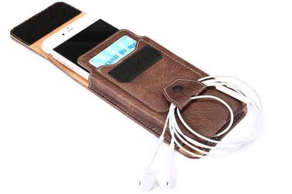 Bridge94 iPhone 6/6S/7 Gürtelholster-Tasche vertikal mit Kabelhalter, braun