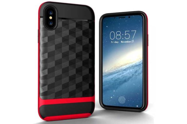 Bridge94 iPhone X Shockproof Backcover mit Displayschutz und Double Layer, rot