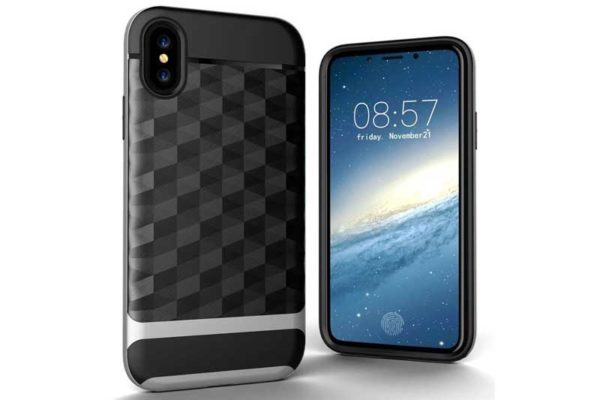 Bridge94 iPhone X Shockproof Backcover mit Displayschutz und Double Layer, silber