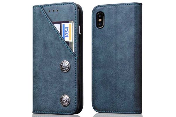 Bridge94 iPhone X Flip Retro Shockproof Leder-Etui, blau
