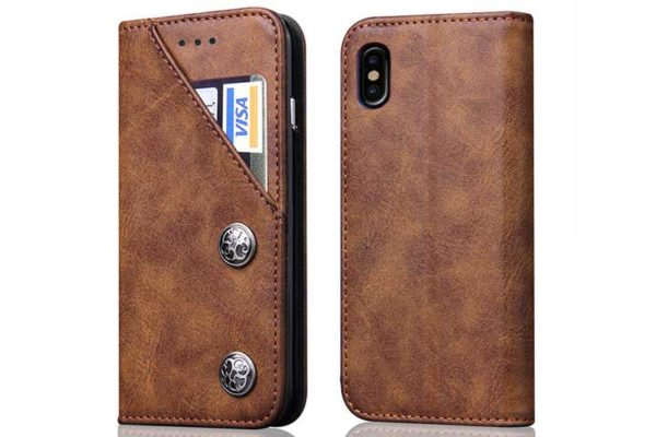 Bridge94 iPhone X Flip Retro Shockproof Leder-Etui, braun