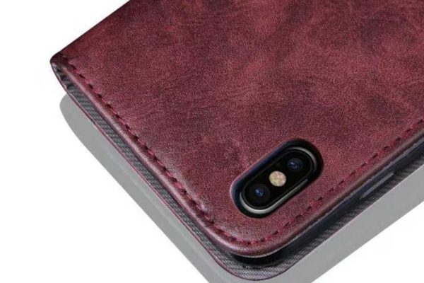 Bridge94 iPhone X Flip Retro Shockproof Leder-Etui, rot