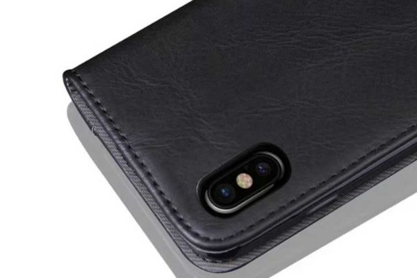 Bridge94 iPhone X Flip Retro Shockproof Leder-Etui, schwarz