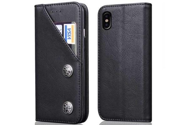 Bridge94 iPhone X Flip Retro Shockproof Leder-Etui, schwarzBridge94 iPhone X Flip Retro Shockproof Leder-Etui, schwarz