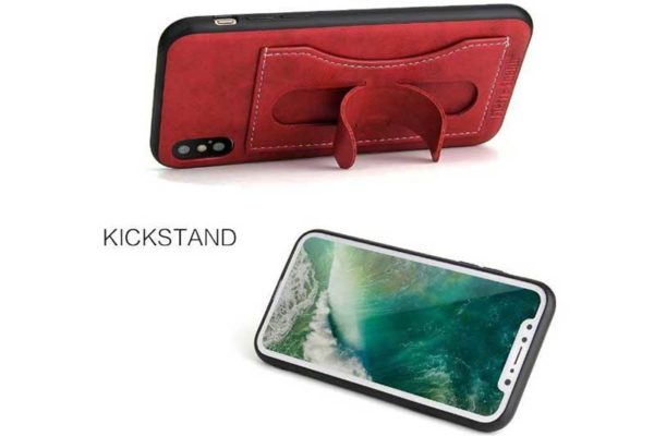 Bridge94 iPhone X Leder-Wallet-Backcover mit Stand, rot