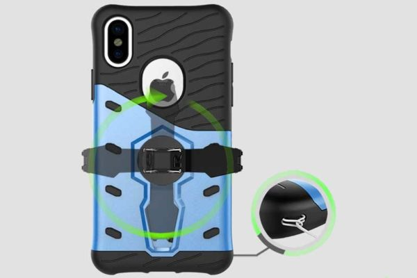 Bridge94 iPhone X Shockproof Backcover mit Stand, blau