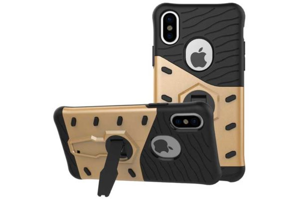 Bridge94 iPhone X Shockproof Backcover mit Stand, gold