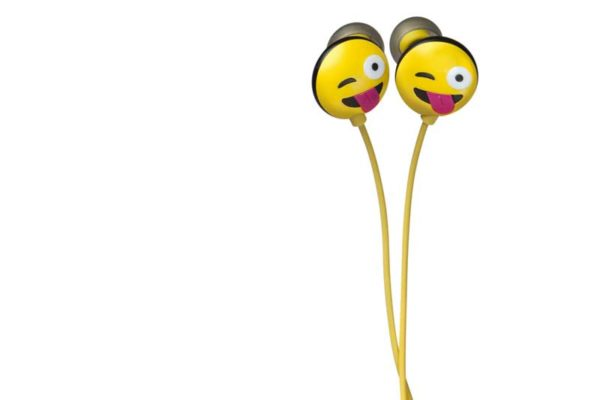 HMDX JAM Jamoji Just Kidding Headphones - Kabelgebundener In-Ear Kopfhörer mit lustigem Emoticon Design