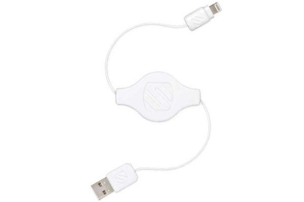 Scosche strikeLINE pro - Ausziehbares USB - Lightning Connector Kabel für alle iPad, iPhone & iPod mit Lightning-Anschluss, 90 cm, weiss