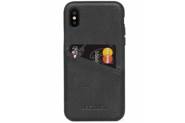 Decoded iPhone X Premium Leder Backcover / Case / Rückseitenschutz mit Kreditkartenfach, schwarz