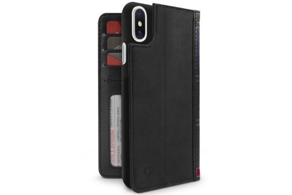 Twelve South BookBook iPhone X - Vintage Leder Etui, Wallet, Case, schwarz