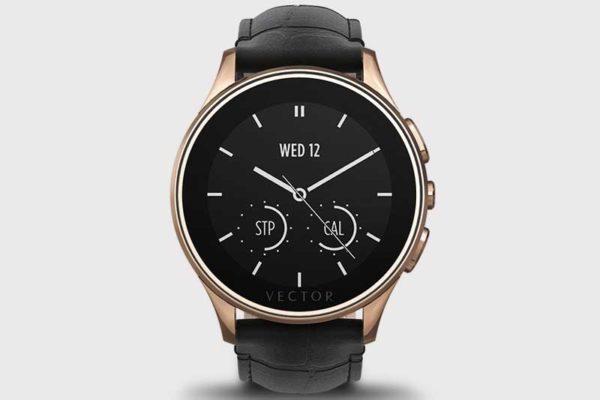 Vector Watch Luna 30 Tage Akku - Edle SmartWatch mit über 30 Tagen Akkulaufzeit und schwarzem Leder-Armband, Small Fit, Rose Gold Case/Black Padded Croco Armband