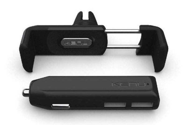 Kenu Halterung Carkit inkl. Dualtrip-Ladegerät mit 2 USB-Anschlüssen, schwarz