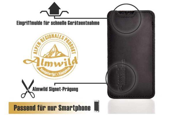 Almwild Hülle/Etui/Pouch iPhone Sattlerschorsch Leder mit Logo, schwarz