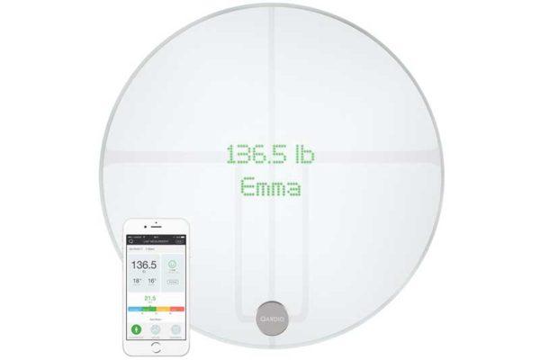 QardioBase 2 - Edle, wiederaufladbare, drahtlose Waage mit Gewichts-, BMIs sowie Muskel- oder Wassergehalt-Messung, weiss